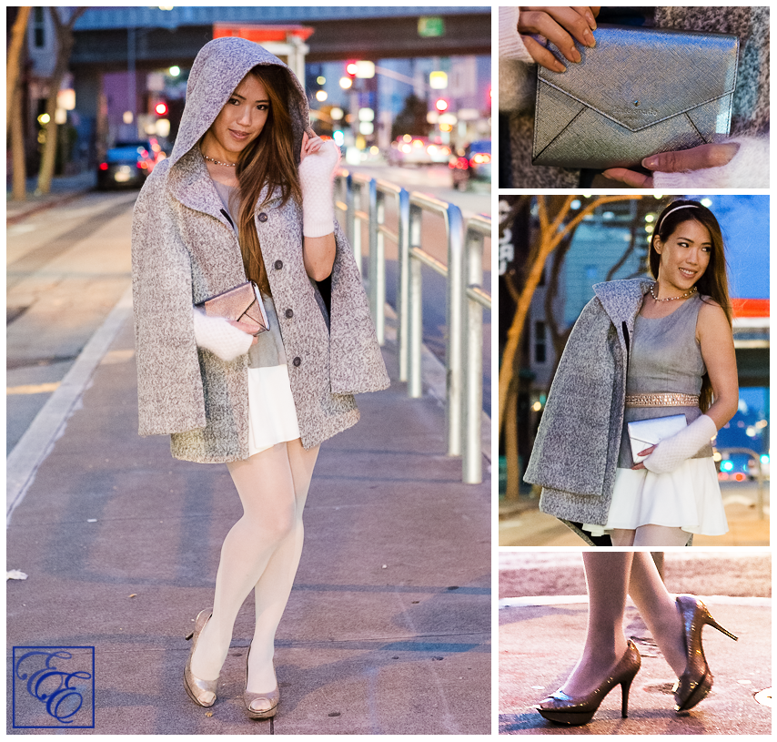 Outfit details: light grey cape, peplum top, white flared skirt, grey hosiery, arm warmers, and metallic pumps and clutch