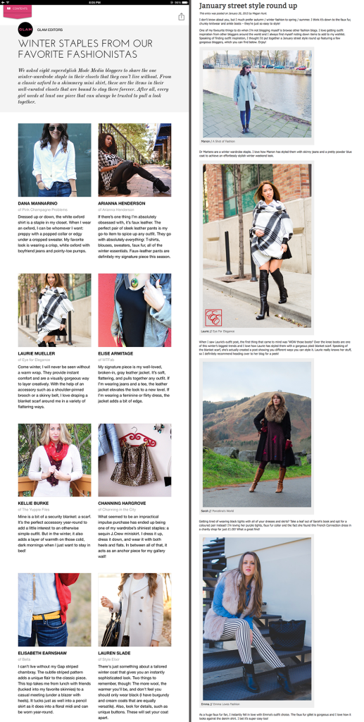 EyeForElegance Winter Wrap Styling Post Featured in Glam Style app and China Blue Shoes Street Style Round Up