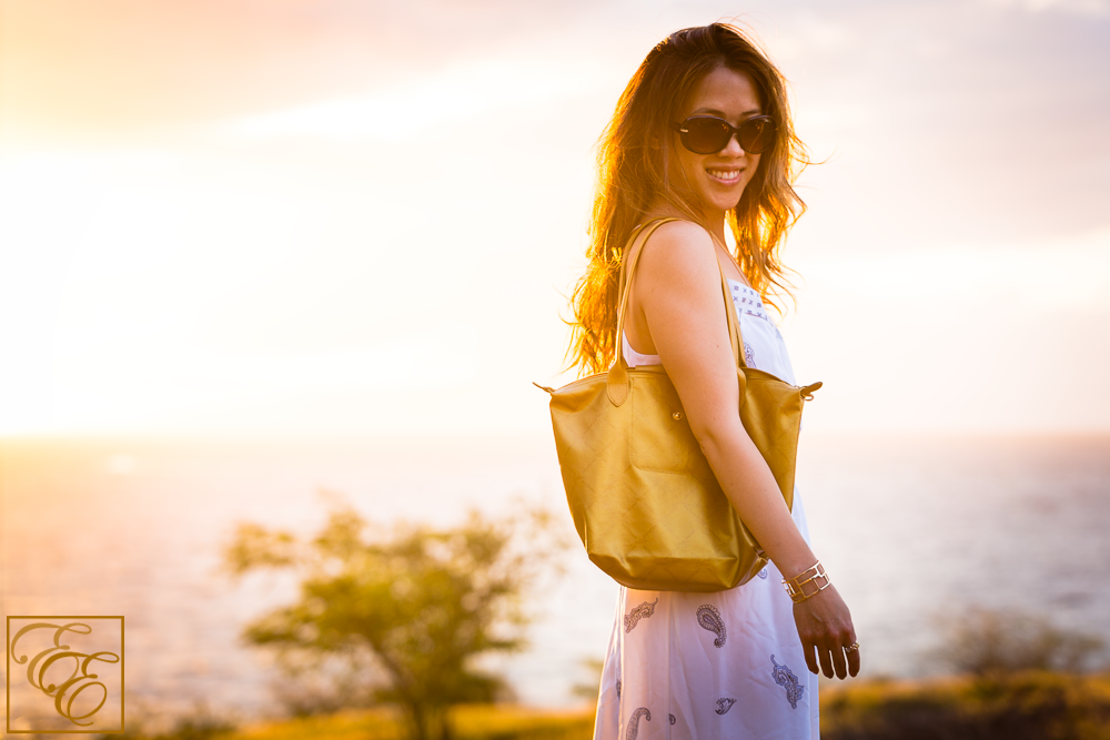 Beach Sunset Style: Longchamp gold bag, Michael Kors shades, and Club Monaco silk maxi dress