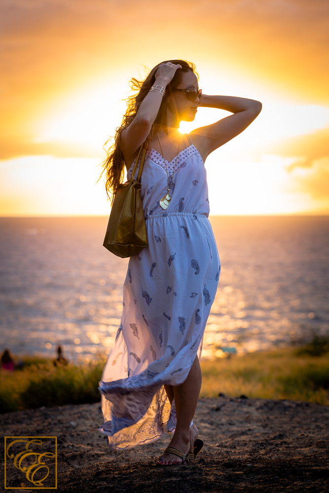 Club Monaco silk maxi dress and Fuchsia gold strappy rope sandals for tropical, beachy chic style. Gorgeous sunset shot.