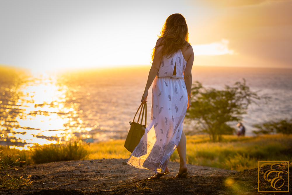 Club Monaco silk maxi dress and Fuchsia gold strappy rope sandals for tropical, beachy chic style. Looking off into the sunset.
