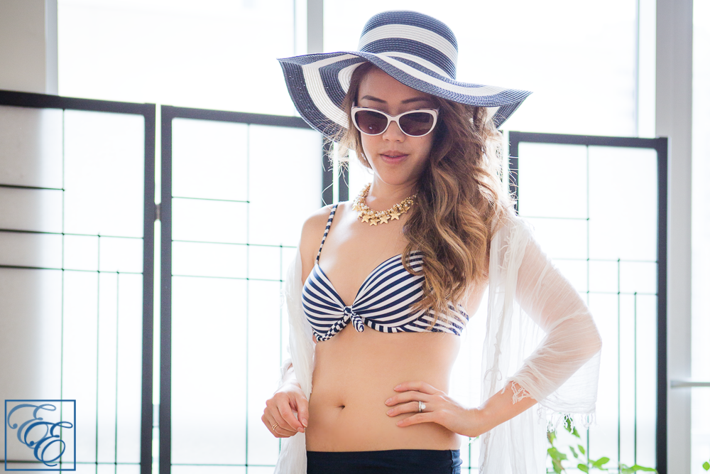 Target Style - Mix and Matching swimwear - blue and white striped classic look