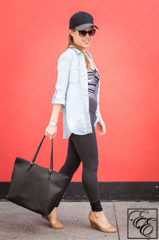Target swimsuit with chambray shirt, athletic leggings, baseball cap, and nude wedges for weekend errands