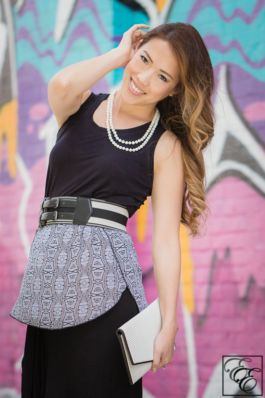 TargetTribalPrint - Black and white graphics with skirt, belt and pearls