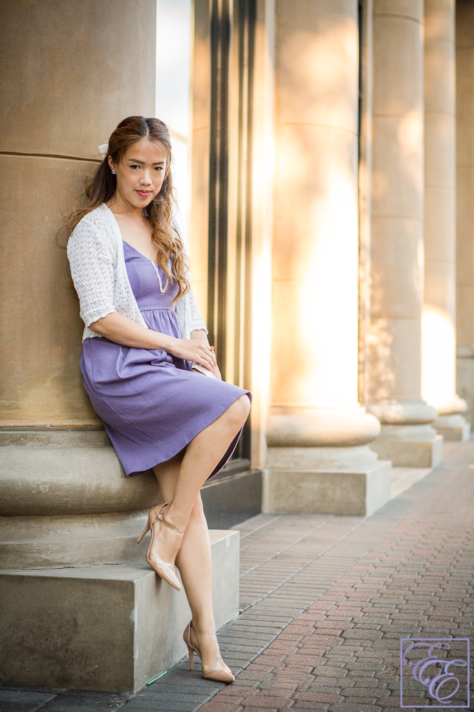 Atelier Prelude organic cotton dress in purple with lace detail
