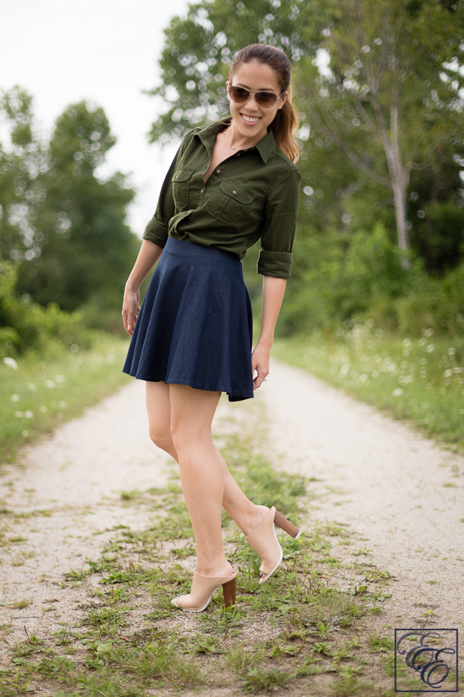 Target olive green denim top and denim skirt