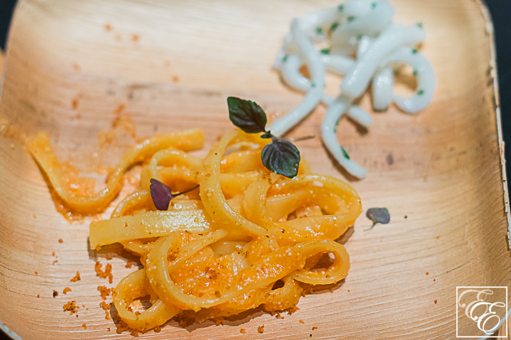 Spicy mentaiko gluten-free fettuccine with picked squid