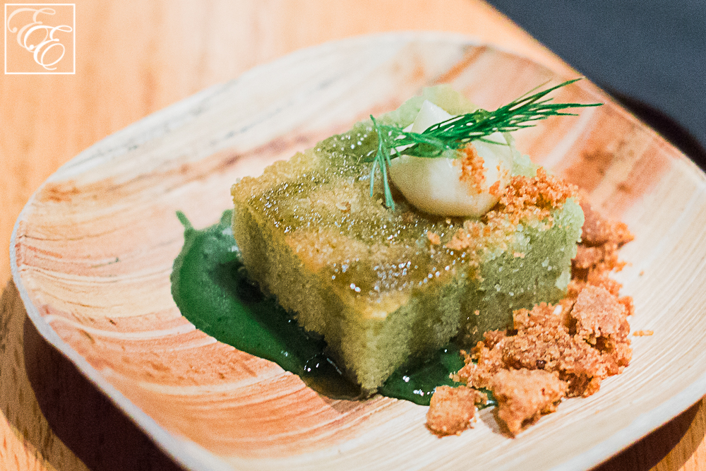 Matcha cake with miso cream, dill honey, and kinako crumble