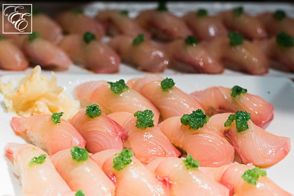 Kampachi nigiri sushi