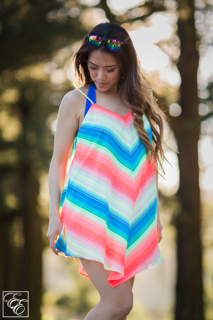 Target neon chevron swimsuit cover-up and metallic rainbow sunglasses
