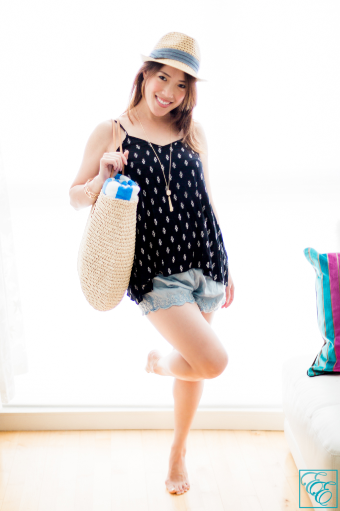Target Summer Packing Essentials: flowing tank top, lace denim shorts, straw fedora, and straw carry-all tote