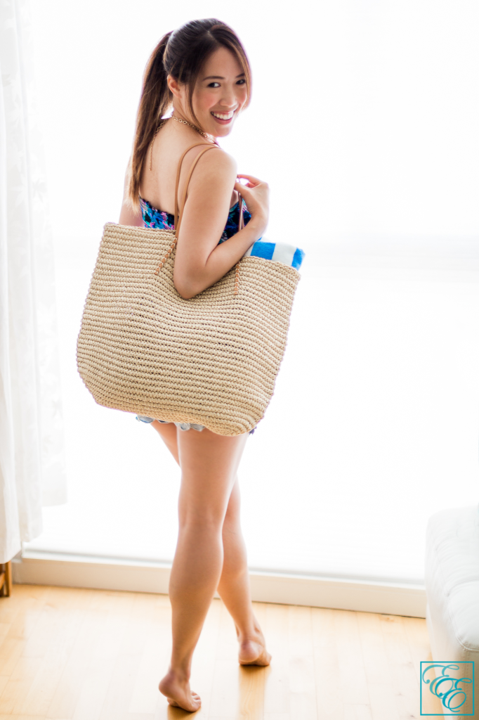 Target Summer Packing Essentials: elastic tankini swimwear and lace denim shorts with straw carry-all tote