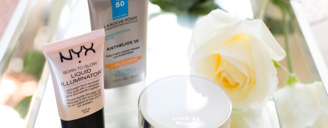 Target Summer Vacation Essentials: La Roche-Posay primer, Laneige BB cushion, and NYX Born to Glow Liquid Illuminator