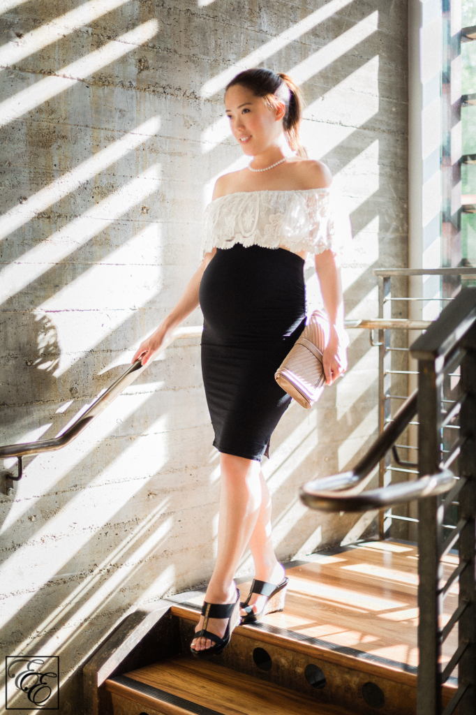 Pregnant Style: How to Wear a Crop Top While Pregnant! (white lace off-the-shoulder top with black pencil skirt)