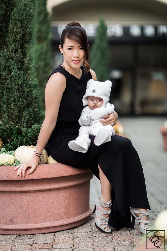 Black sheath nursing dress and baby bear costume